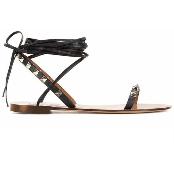 Black Stud Detail Tie Up Gladiator Flat Sandals chiclookcloset ($50) ❤ liked on Polyvore featuring shoes, sandals, black shoes, flat gladiator sandals, studded flat shoes, tie shoes and gladiator shoes