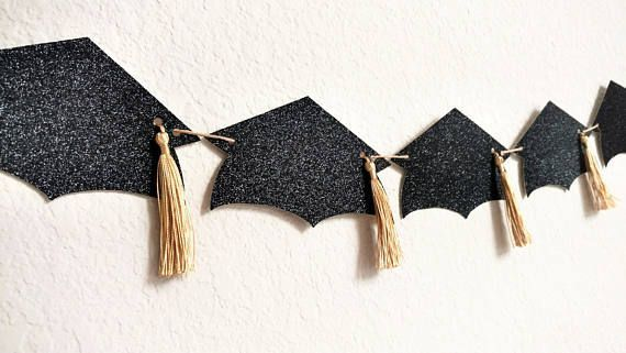 Graduation Party Banner, Graduation Party Garland, Graduation Party Decorations A beautifully created and assembled banner to dress up your graduation party! All you have to do is hang it up. A beautiful piece to hang from a mantle, front of a dessert table, on the wall behind #graduationdecorations