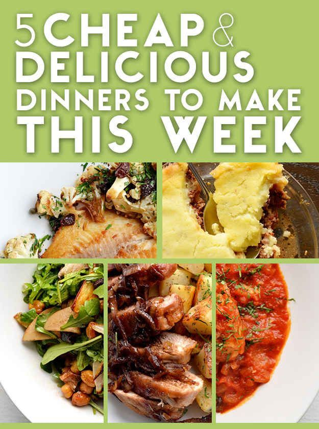 5 Cheap And Delicious Dinners To Cook This Week (via Buzzfeed). Five meals that feed 4 for right under $50. I'd make all of these.