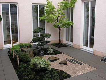 Doing a bit of study on small courtyard landscapes: small Japanese-style garden installed in a Berlin museum
