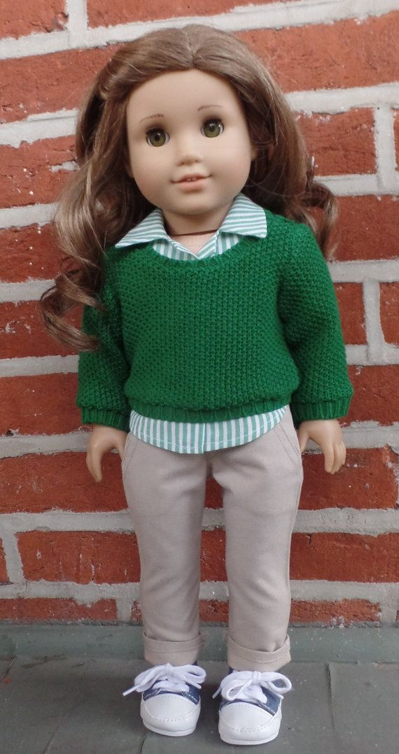 Green sweater, striped shirt, and khaki pants outfit by GumbieCatDollClothes on Etsy. Made from the Pullover Sweater, Button Up Shirt, and the Moto Pants patterns. Get them here http://www.pixiefaire.com/products/pullover-sweater-18-doll-clothes. http://www.pixiefaire.com/products/button-up-shirt-18-doll-clothes. http://www.pixiefaire.com/products/moto-pants-pattern-18-doll-clothes. #pixiefaire #pulloversweater #buttonupshirt #motopants