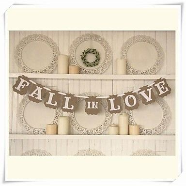 "Wedding Décor Romantic Vintage "" FALL IN LOVE""  Engagement Banner Photo Booth Props – USD $ 9.99"
