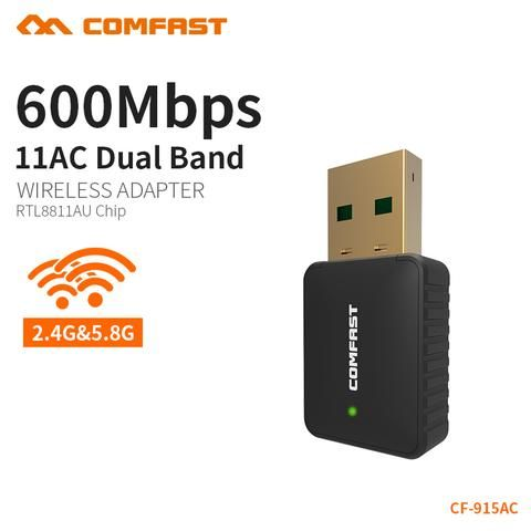 600Mbps Wireless USB WiFi Adapter Network Card Dual Band 2.4//5.8Ghz Lan Antenna
