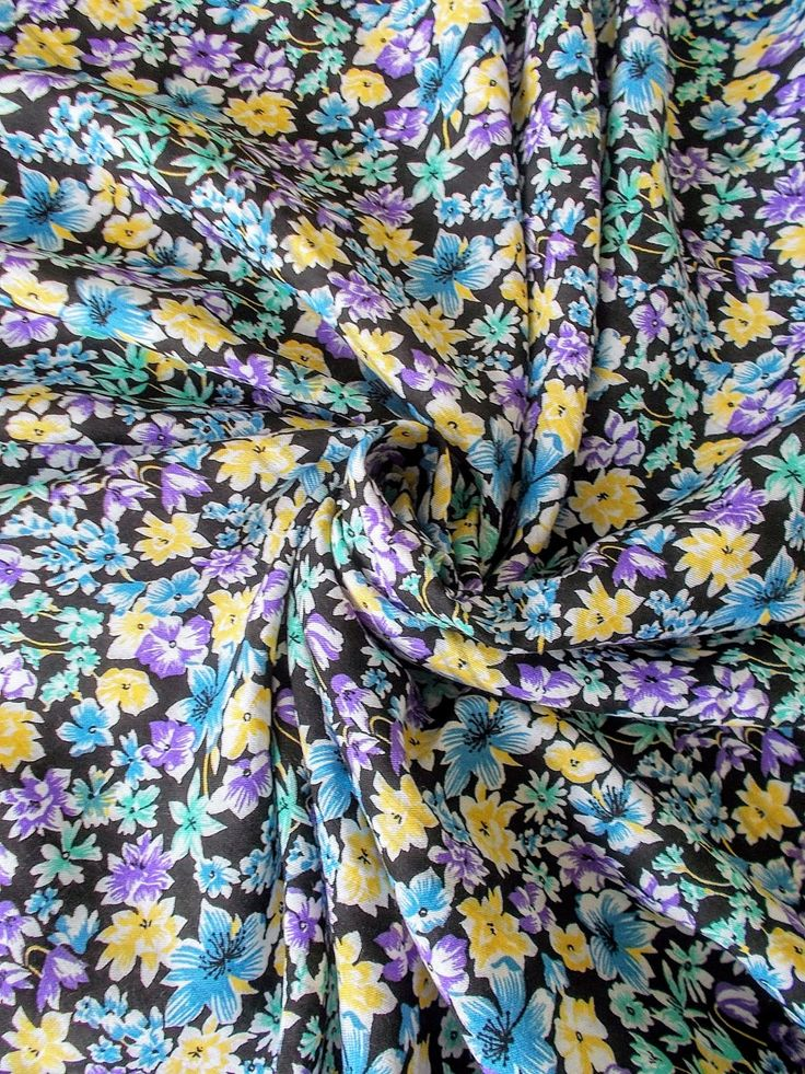 Vintage Cotton/ Mix Dress Fabric - 1960's/1970's - Black background with blue, yellow & lilac flowers - One piece - Unused - *print flaw*