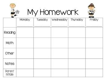 weekly homework plannersports theme football other and