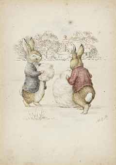Beatrix Potter - Peter Rabbit . Building a snowman
