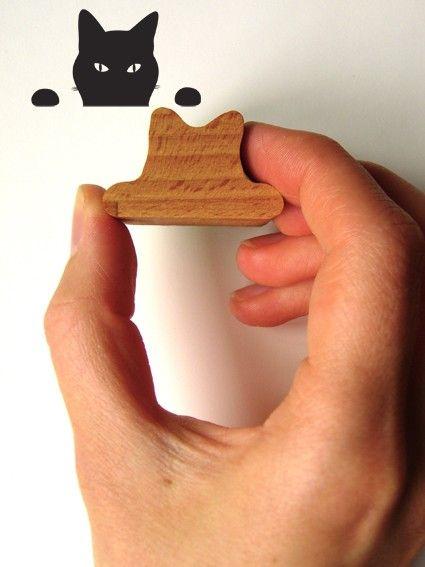Katze Piepsen Stempel aus Gummi mit Holzgriff von jolyonyates