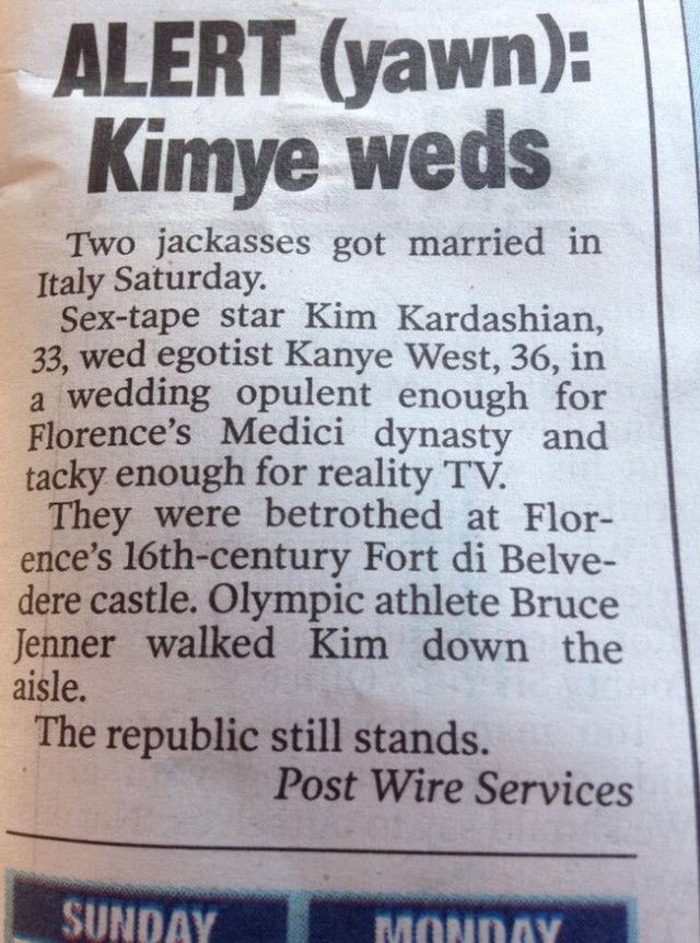 The New York Post Perfectly Trolls Kim Kardashian and Kanye West on Their Wedding Day   Bro Code, Hot Girls, Funny Stories and Videos, Frat Music, College Stories, Sports News and Videos - BroBible.com