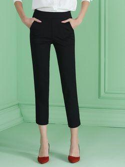 Black Viscose Work Plain Straight Leg Pant