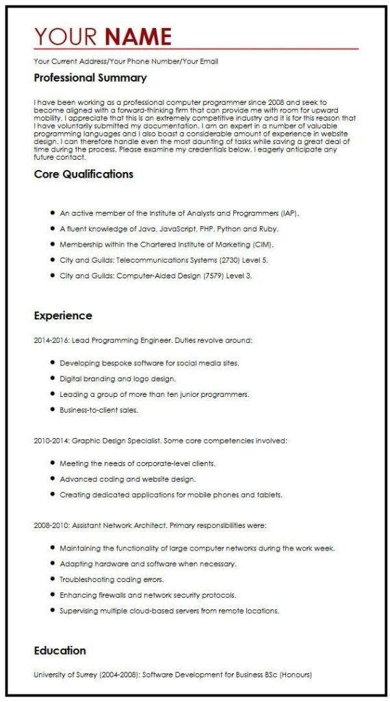 Cv Example For A Summer Job Myperfectcv Work Experience Cv Cv Template Curriculum Vitae Template