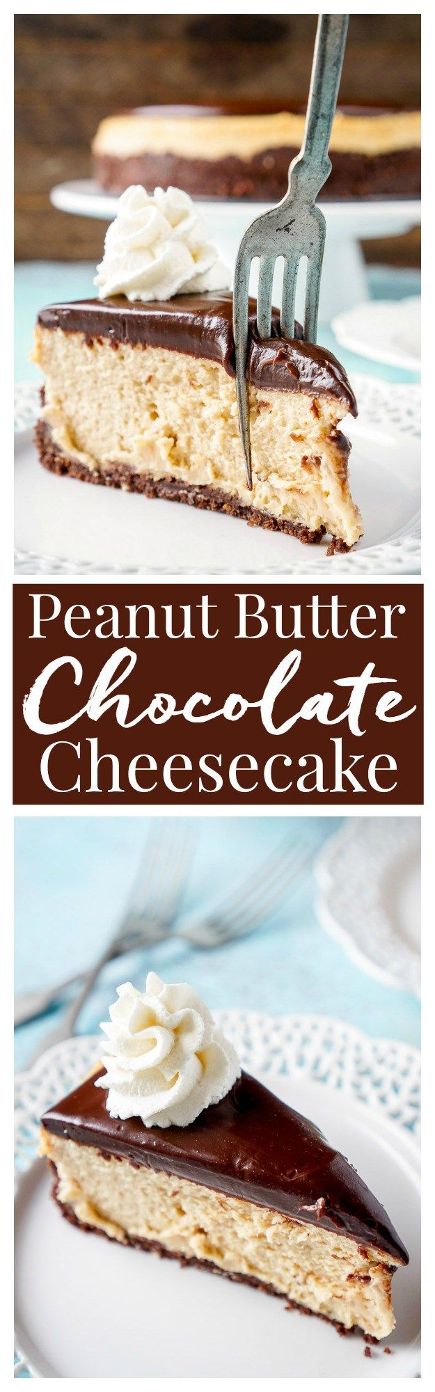 This Peanut Butter Chocolate Cheesecake recipe is a silky, peanut buttery dessert sandwiched between a rich chocolate graham cracker crust and a tempting chocolate ganache.