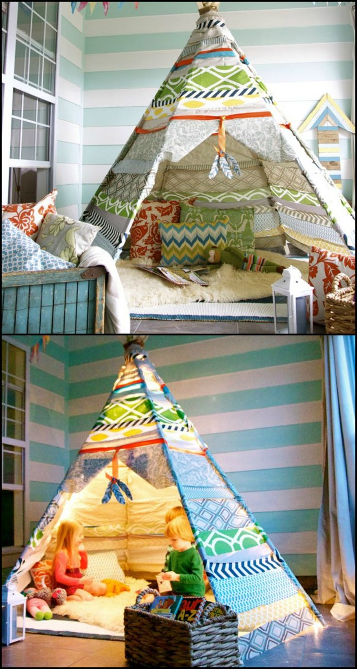 How to Make No-Sew TeePee Tent for Kids  http://diyprojects.ideas2live4.com/2016/01/08/how-to-make-no-sew-teepee-tent-for-kids/  Not everyone is enthusiastic about the sewing part in making a typical teepee tent. So here's the easiest way to build one... a no-sew teepee tent!  Is this going to be your next project for the kids? :)