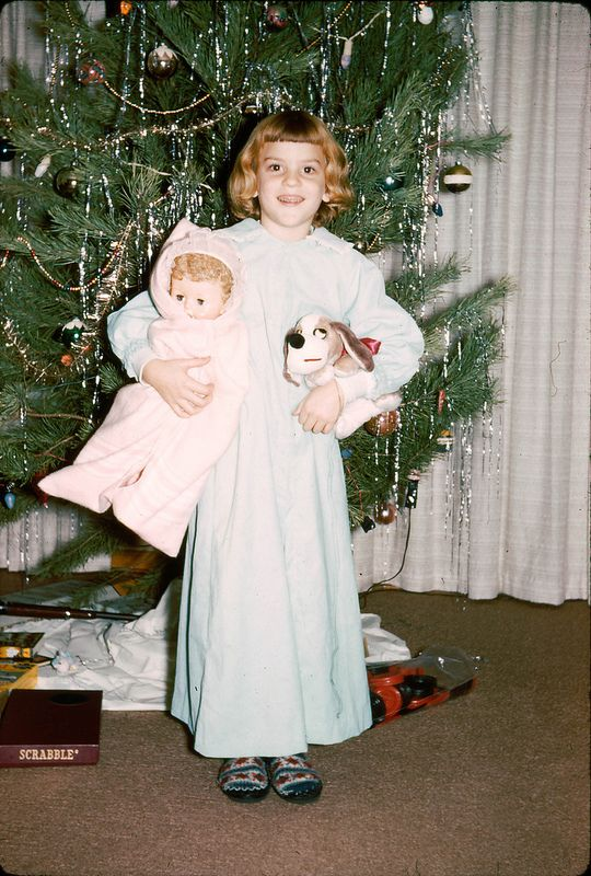 Christmas morning, and this little cuties has a BIG smile on her face, so I think she is happy with what Santa brought her ~ 1960