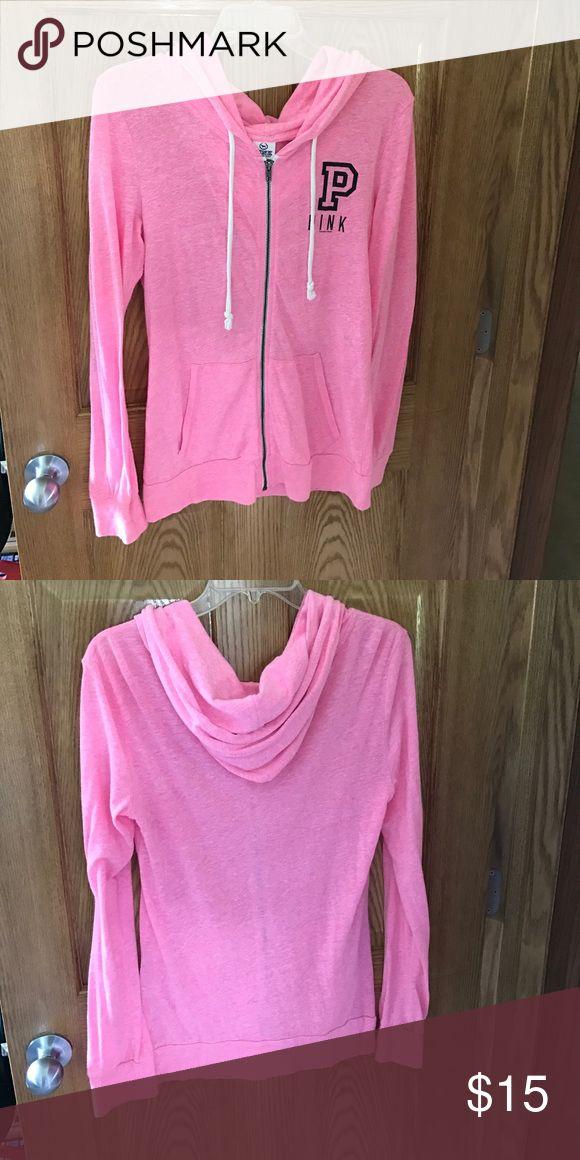 Victoria Secret Pink Zip up Hoodie Victoria Secret zip up Hoodie. Lighter material and is longer fitting. Size small Tops Sweatshirts & Hoodies