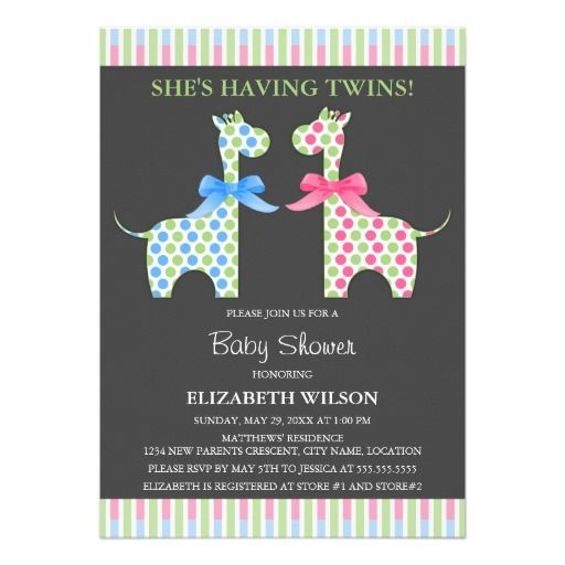 Twin Boy and Girl Giraffe Baby Shower Personalized Invitations