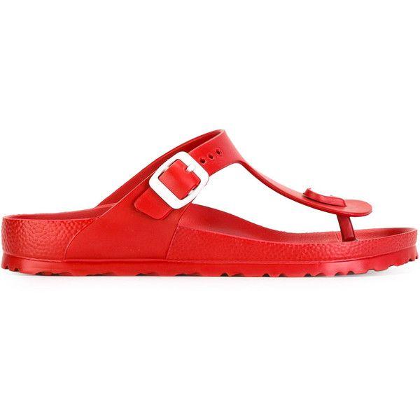 Birkenstock Eva Flip Flops ($37) ❤ liked on Polyvore featuring shoes, sandals, flip flops, red flip flops, birkenstock sandals, birkenstock footwear, birkenstock and red sandals