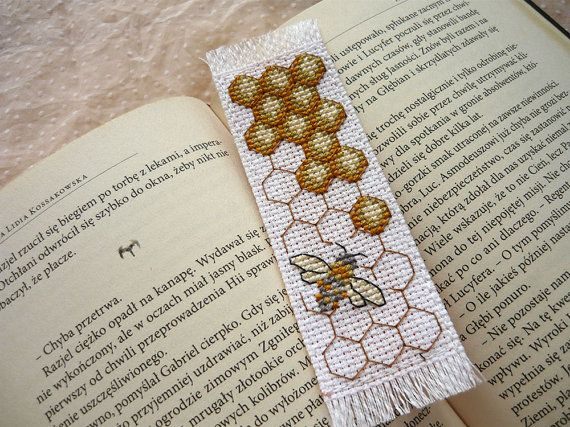 Cross stitch bookmark  bee embroidered bookmark by MariAnnieArt