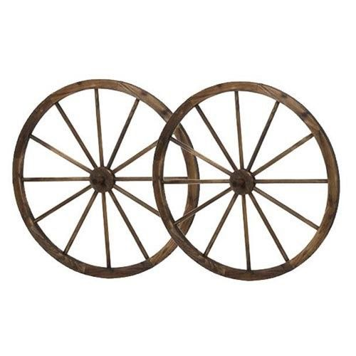 36 in Wooden Wagon Wheels - Steel-rimmed Wooden Wagon Wheels, Set of Two | Jet.com