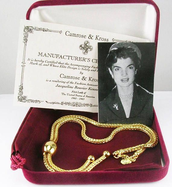 Jackie Kennedy GP Necklace  24K Basketweave Design Box and