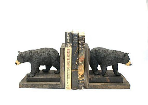 Tragen Sie Buchstützen Schwarzbären Holz Holz Buch enden Bücherregal holzig rustikale Lodge Skiberg Kabine Bibliothek Regal Western Ranch maskulin Dekor