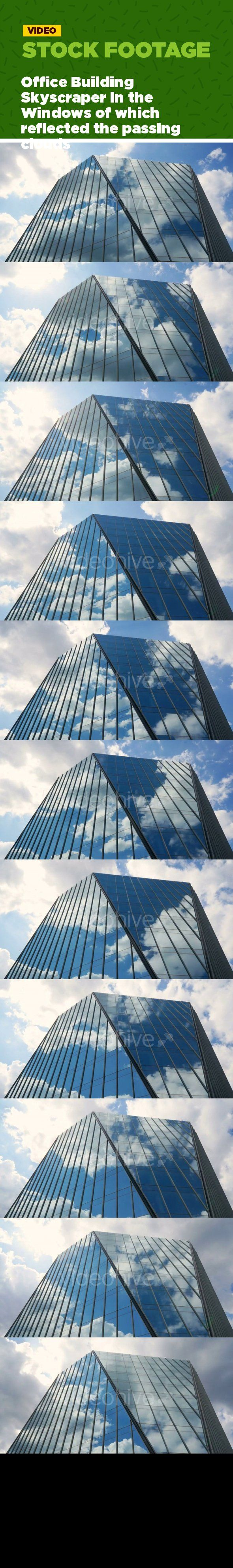 apartment, architecture, business, clear, company, financial corporation, floating clouds, modern, office building, real estate, reflection, sky, skyscraper, windows, working day Office building skyscraper. building with panoramic glass windows reflecting the clouds. 4K