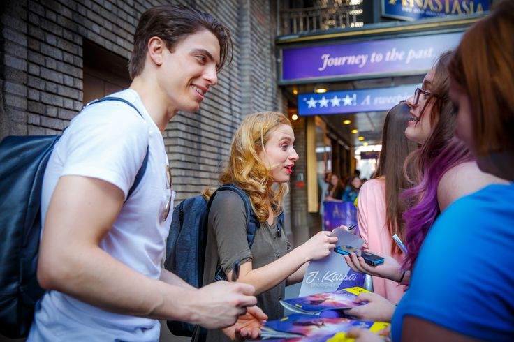 Derek Klena & Christy Altomare greeting fans at the stage door.