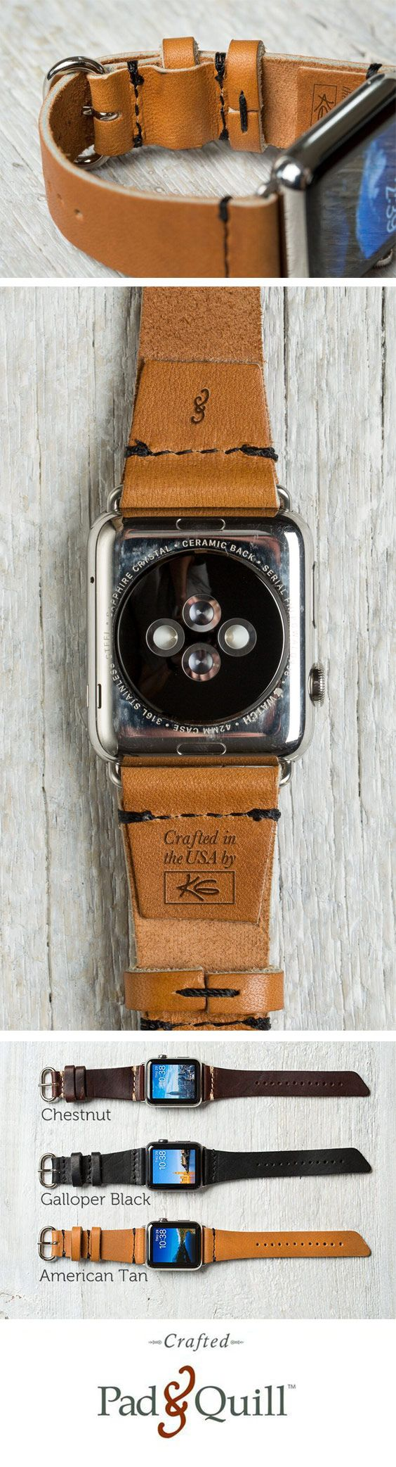 http://www.PadandQuill.com Urban chic, rugged, yet supple soft, meet the Lowry Leather Apple Watch Band by Pad & Quill. Handmade in the USA from Horween tanneries legendary full-grain leather, each band is signed by the artisan who crafted it. Make a statement with this leather Apple Watch band from Pad & Quill. #applewatch