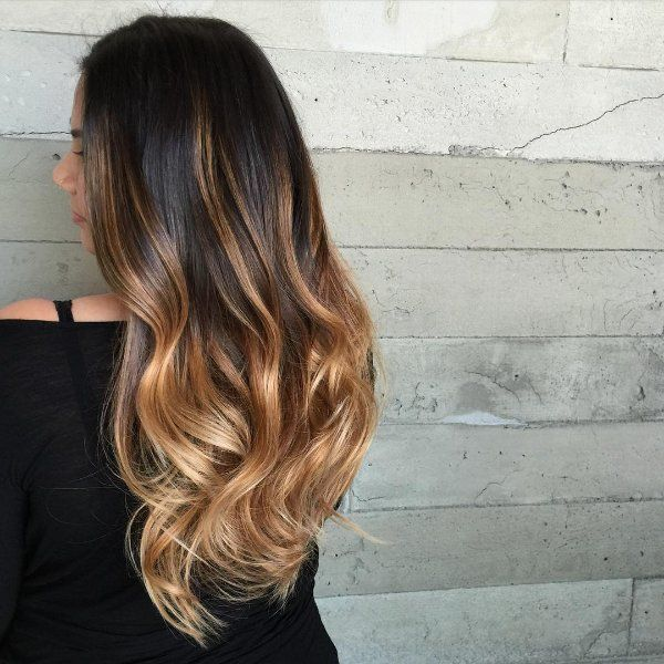 black hair with honey blonde highlights
