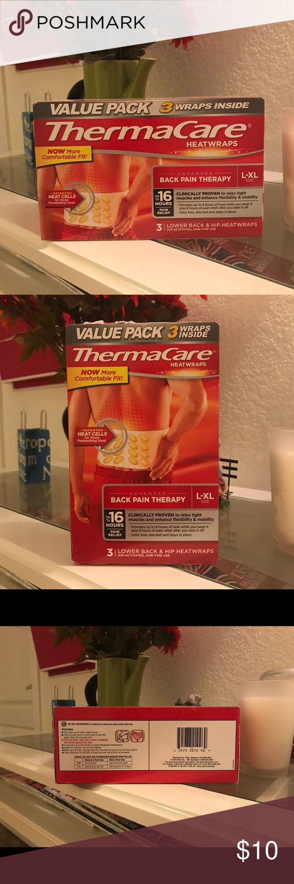 NWOT 3 Unopened ThermaCare Heatwraps Advanced back pain therapy!                             •Provides up to 16 hours of pain relief •Clinically proven to relax muscles and enhance mobility •Air-activated one time use wraps •Designed for lower back and hip •Features deep penetrating heat cells.               Bought but never had a chance to use it. ThermaCare Other