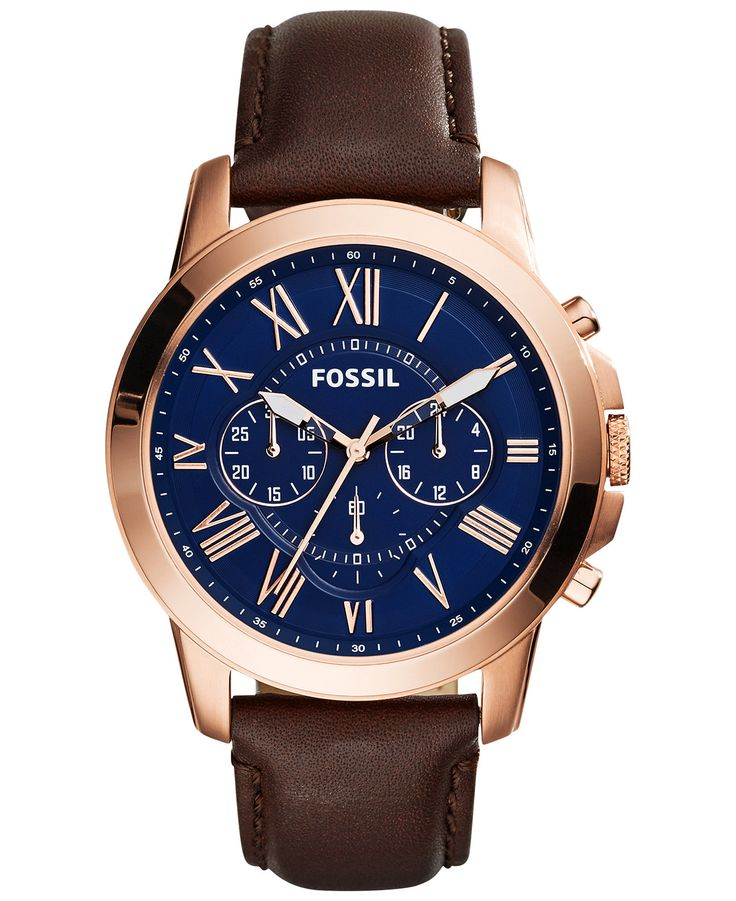 Fossil Men's Chronograph Grant Brown Leather Strap Watch 44mm FS5068 - Men's Watches - Jewelry & Watches - Macy's