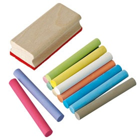 Blackboard chalk and eraser ~£6