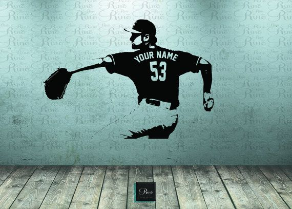 Baseball Wall Decal Art CUSTOM NAME Jersey Numbers