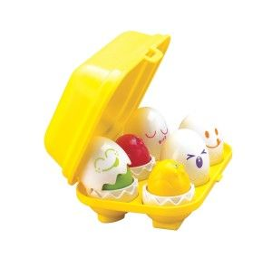Hide N Squeak Eggs The eggs come apart and inside is a colored egg that squeaks when you push it. Each egg has it's own slot, so your child will enjoy playing with these eggs as well as learn as he/ she plays. http://awsomegadgetsandtoysforgirlsandboys.com/creative-easter-basket-ideas/ Creative Easter Basket Ideas: Hide N Squeak Eggs