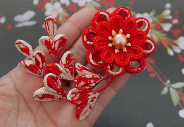 katumi made つまみ細工の簪(かんざし)七五三の髪飾り、帯飾りに2wayクリップピン