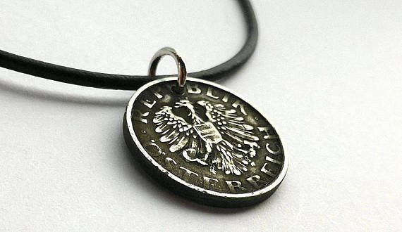 Coin pendant Austrian Coin necklace Coin jewelry Leather