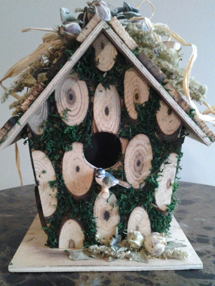 Rustic Wood And Moss Birdhouse With White And Pink Larkspur, Sage And A  Cute Mushroom
