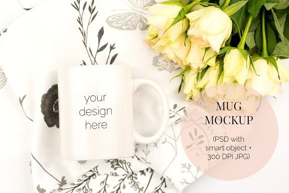 White Mug PSD Mockup with Roses by Kreanille Design on @creativemarket