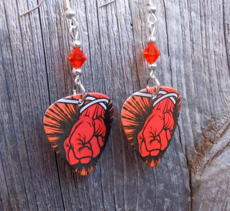 Metallica St Anger Album Guitar Pick Earrings with Orange Swarovski Crystals