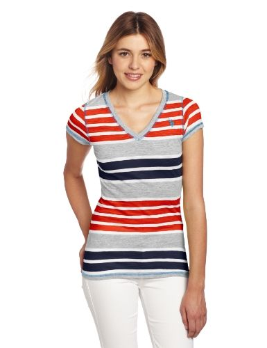 U.S. Polo Assn. Juniors Striped T-shirt With V-neckline, Red Burst, Medium   Fashion Trends