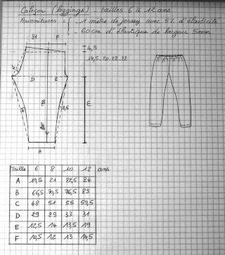 Patron à tracer de legging enfant. Tissu : jersey Tailles : 6 - 12 ans