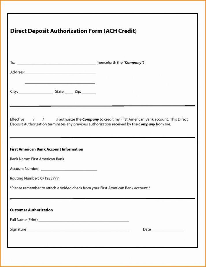 Vendor Direct Deposit Authorization Form Template In 2020