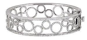 14K White Gold 6 7/8 Cttw Pearl Diamond Bangle Bracelet