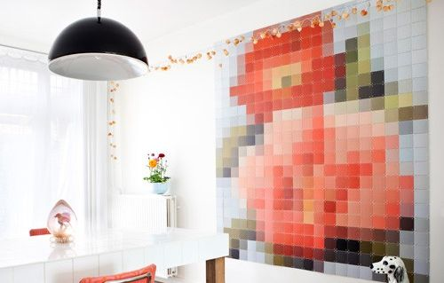 Paint Chip Wall Art Mosaic How To  Love this idea of pixelating a picture and making a mosaic.