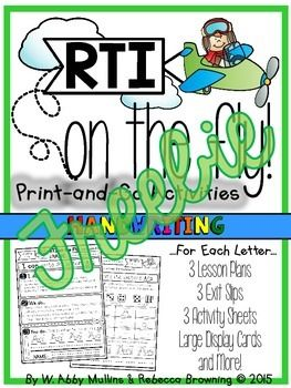 This is a free sample from RTI on the Fly: Handwriting. You can purchase the full product HERE,and check out free samples from RTI on the Fly: Letter Sounds HERE and RTI on the Fly: Letter Identification HERE.