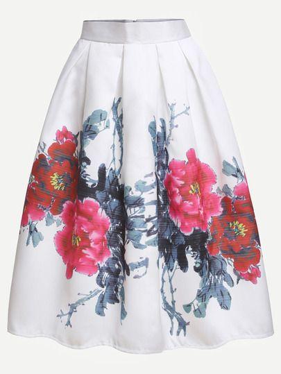 Falda flor estampada plisada - blanco