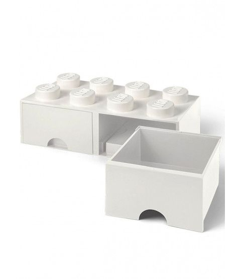 Lego Brick Storage Box 8 with 2 Drawers - White in 2019   Bedrooms