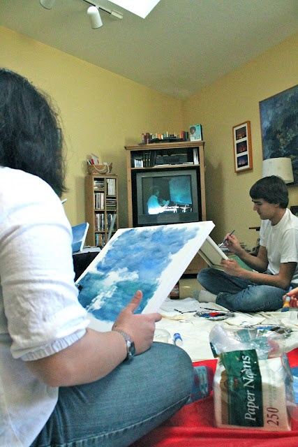Bob Ross painting party! I so want to do this!