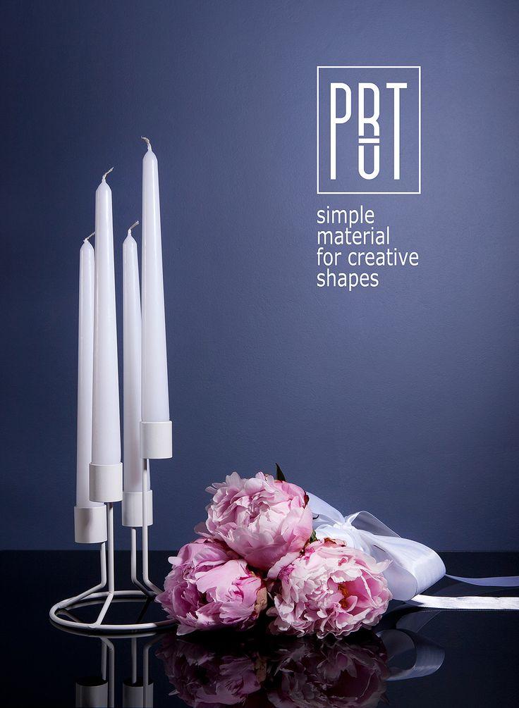 PRUT metal candle holder, design FOUR