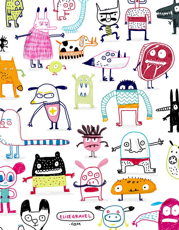 Elise Gravel illustration • Monster pattern • Motif de monstres • Art • funny • Cute • Character design •