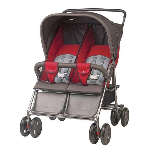 Carrinho de Bebê para Gêmeos Grafite com Vermelho 154297 - Hércules